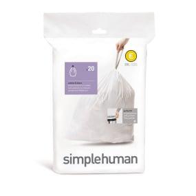 Simplehuman 20 Litre Sure Fit Draw Closure Bin Liners - Size E