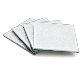 Silver Mirror Set of 4 Square Snakeskin Coasters