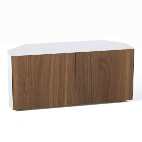 "Invictus White and Walnut Corner TV Stand for up to 55"" TVs - Self Build"