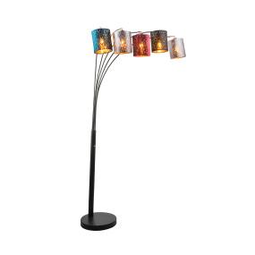 Globo Ticon Velvet Multi Colour 5 Arm Floor Lamp