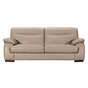Alberta Beige Leather 3 Seater Sofa