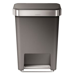 Simplehuman 45 Litre Grey Rectangular Pedal Bin with Liner Pocket