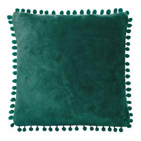 Cashmere Touch Verdigris Fleece Pom Pom Cushion