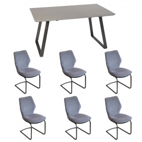 Cosmo 160cm Extending Dining Table & 6 Cosmo Chairs