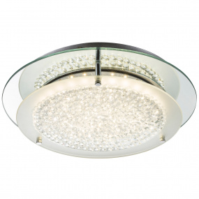 Froo Flush Clear Crystal & Chrome Flush Ceiling Light