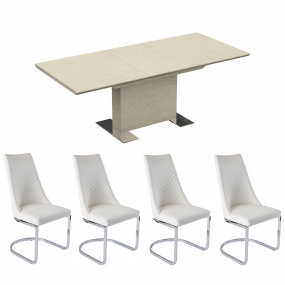 Pippy High Gloss Extending Dining Table & 4 Camber White Chairs