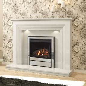 Zeta White Micro Marble Fireplace