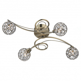Circa 4 Light Antique Brass Semi Flush Ceiling Light