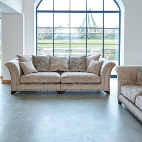 Vivienne Coco Plain Gold Fabric Modular 4 Seater Sofa With Dark Feet - In Roomset