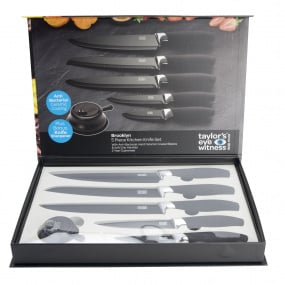 Taylors Eye Witness Brooklyn Black & Chrome 5 Piece Knife Set With Sharpener