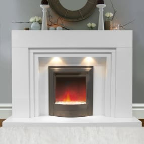Porto White Marble Surround with Lights