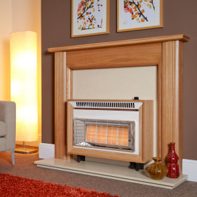 Flavel Misermatic Light Oak Gas Fire