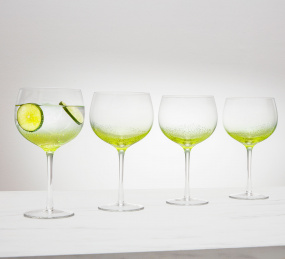 Set of 4 Green Bubble Gin Glasses