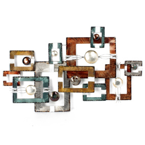 Teal and Bronze Square Wall Art