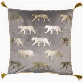 Malini Leo Grey & Gold Velvet Cushion
