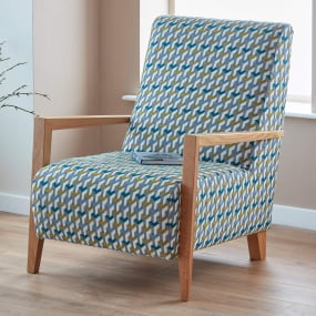 Weston Lime & Teal Tetri Pattern Fabric Accent Chair - Lifestyle | Housing Units