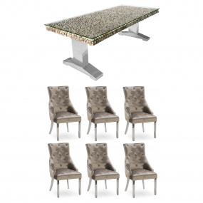 Newport 200cm Dining Table & 6 Parker Champagne Chairs With Knocker