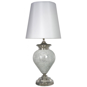 Silver Mosaic Table Lamp and White Shade
