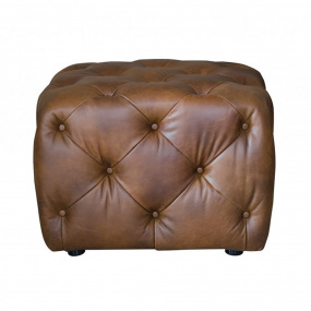 Small Cube Footstool in Tan Leather