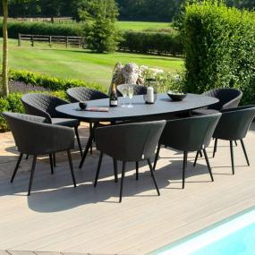 Maze Rattan Ibiza Fabric 8 Seat Oval Garden Dining set