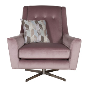 Cranford Pink Velvet Swivel Chair