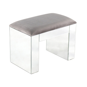 Elissa Mirrored Dressing Stool - Angled