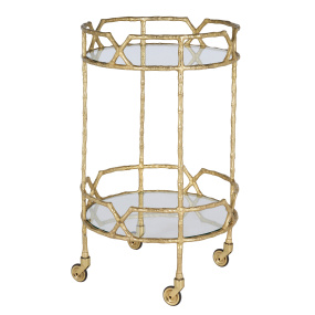 Rana Gold 2 Tier Drinks Trolley With Bamboo Effect Frame