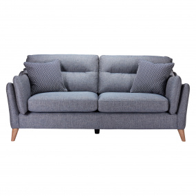 Carusso Blue Fabric Upholstered 3 Seater Fixed Sofa - Front
