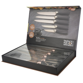 Taylors Eye Witness Brooklyn Black & Rose Gold 5 Piece Knife Set With Sharpener