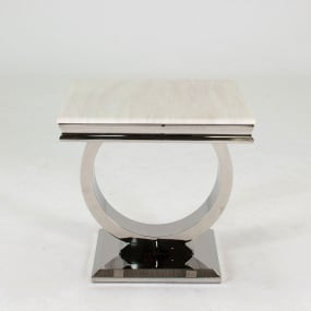 Renata Rectangular Marble and Chrome Side Table