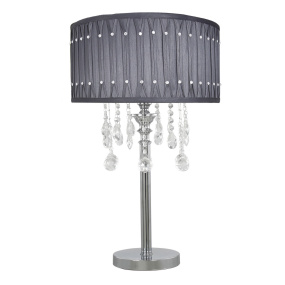 Versailles Silver & Chrome Table Lamp with Grey Shade