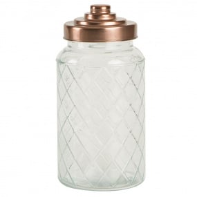 Copper Lid Large Lattice Glass Storage Caddy