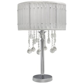 Versailles Chrome and Crystal White Table Lamp and Shade
