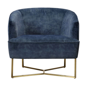 Emerson Petrol Blue Fabric Accent Chair