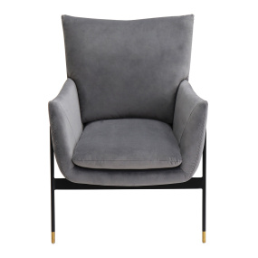 Lola Grey Velvet Accent Chair