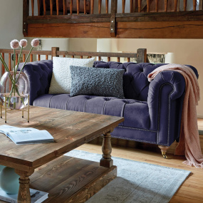 Bronte Ink Blue Velvet 2 Seater Sofa - With Scatter Cushions (Sold Separately) | Housing Units