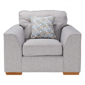 Clarendon Grey Fabric Armchair With Scatter Cushion - Front | Housing Units