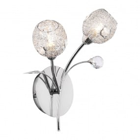 Portia Chrome 2 Light Crystal Wall Light