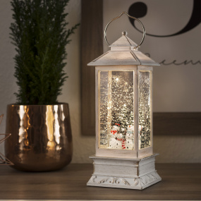 White Snowman LED Water Lantern Spinner | Housing Units