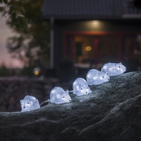 LED Acrylic Outdoor 5 Piece Mouse Decoration
