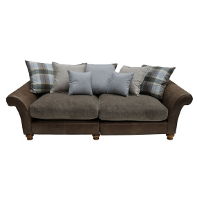 Holbeck Brown Leather & Fabric 4 Seater Split Sofa