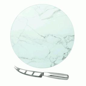 Circular Glass Marble Cheese Service Board