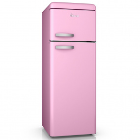 Swan Retro Pink Top Mounted Fridge Freezer