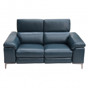 Lucia Small Petrol Blue Leather Electric Sofa