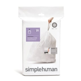 Simplehuman 20 Litre Sure Fit Draw Closure Bin Liners - Size D