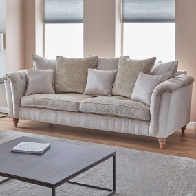 Laurence Oyster Fabric Large Pillow-Back Sofa - Lifestyle | Housing Units