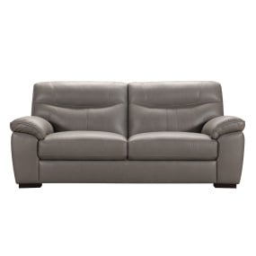 Andrea Grey Leather 3 Seater Sofa