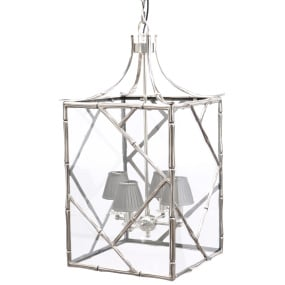 Dellium Large Silver Bamboo Glass Ceiling Lantern
