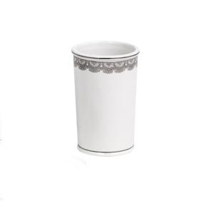 Showerdrape Romance White and Silver Ceramic Tumbler