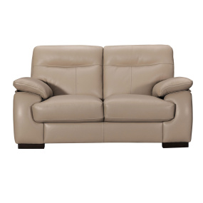 Alberta Beige Leather 2 Seater Sofa
